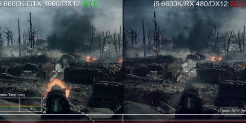 Battlefield 1 GTX 1060 vs RX 480