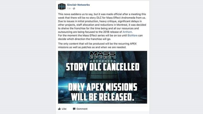 mass effect andromeda dlc cancelled