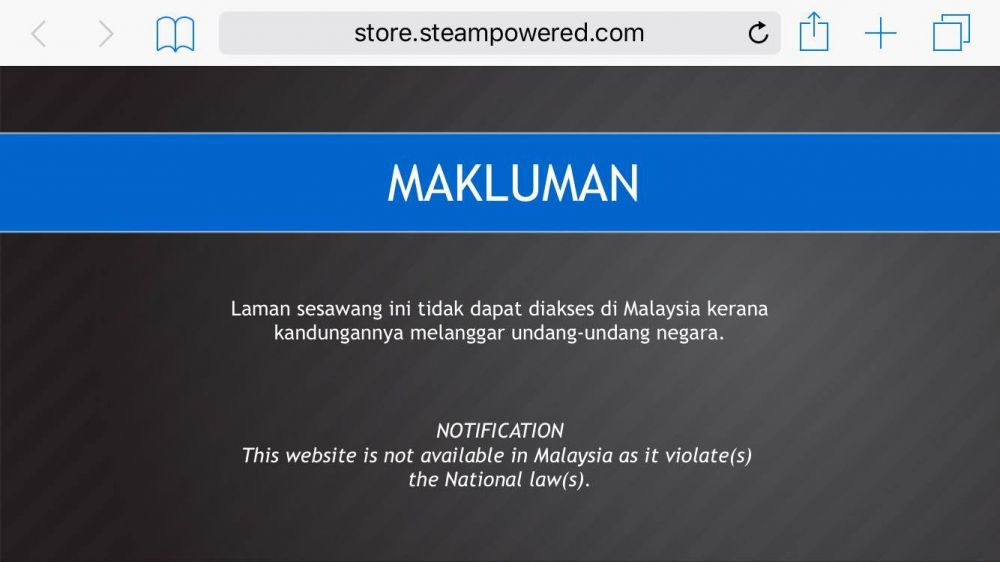 Steam Has Been Blocked In Malaysia