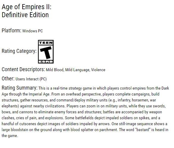 Age of Empires II: Definitive Edition classified by the ESRB