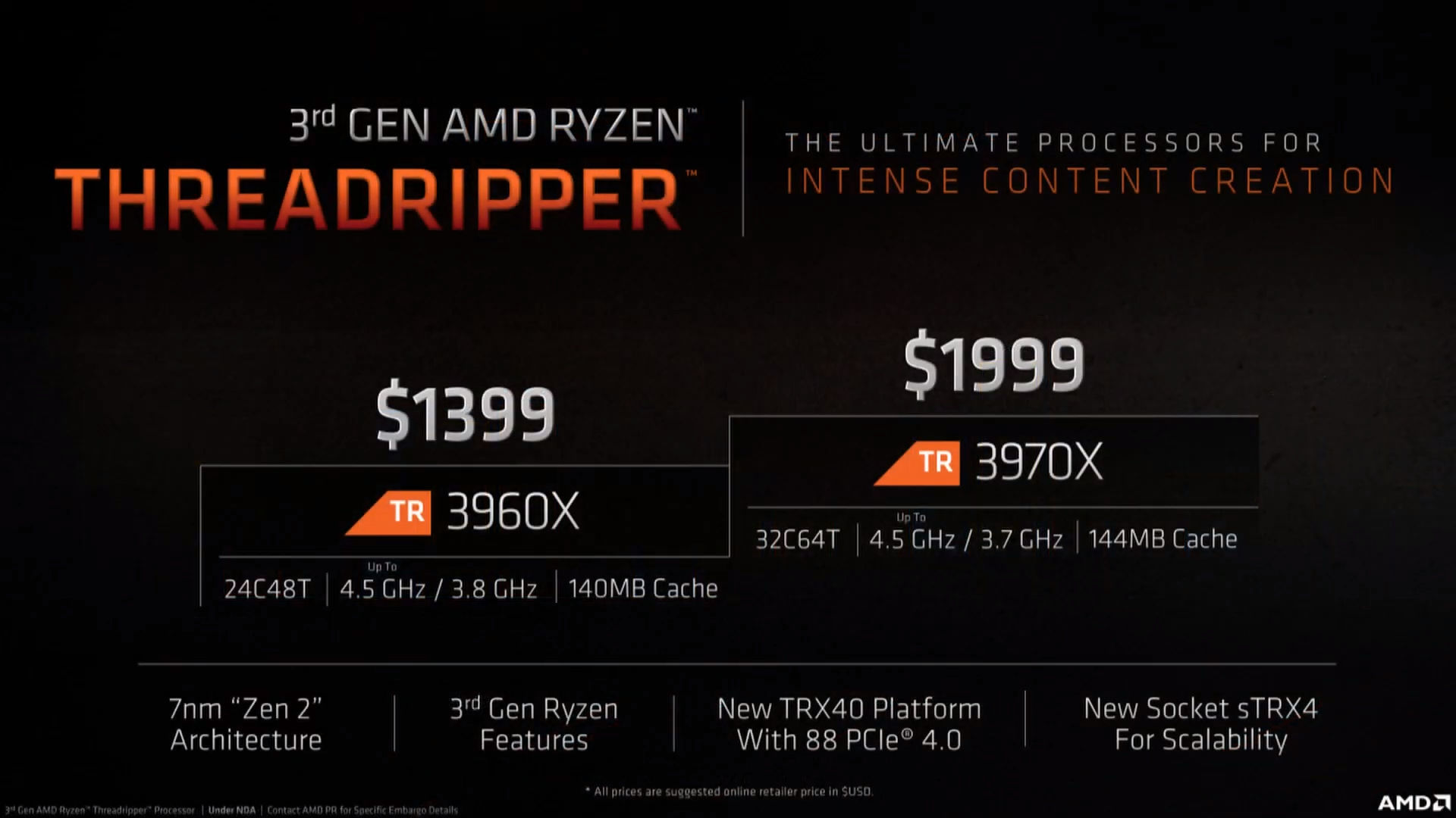 Threadripper 3960X and 3970X Price Specs